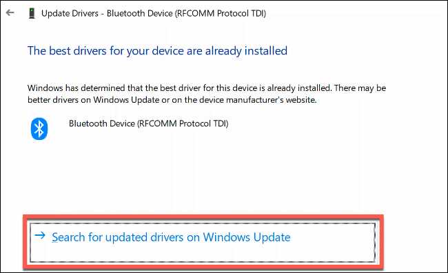 "Click ""Search for Updated Drivers on Windows Update."""