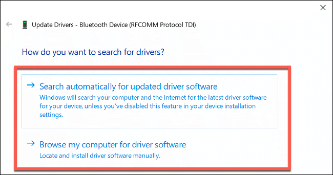 "The ""How Do You Want to Search for Drivers?"" options in Windows 10."
